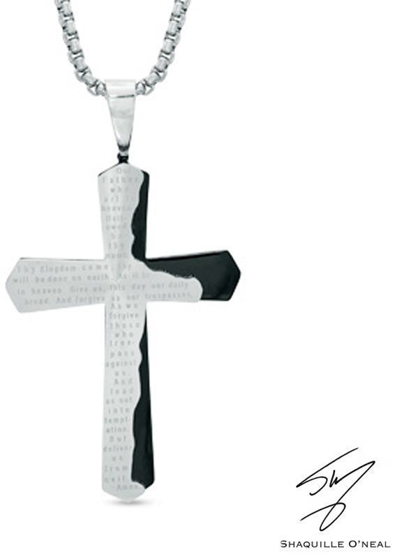 Zales Mens Lords Prayer Tablet Cross Pendant in Two-Tone Stainless Steel - 24 S6Sl4Gj