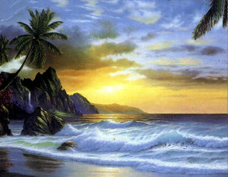 Seashore Painting, Palm Tree, Hawaii Beach, Sunrise Painting, Canvas ...