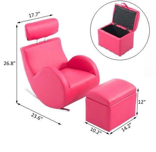 Pink Leather Kids Rocking Chair Storage Ottoman Footstool Set Children  Furniture