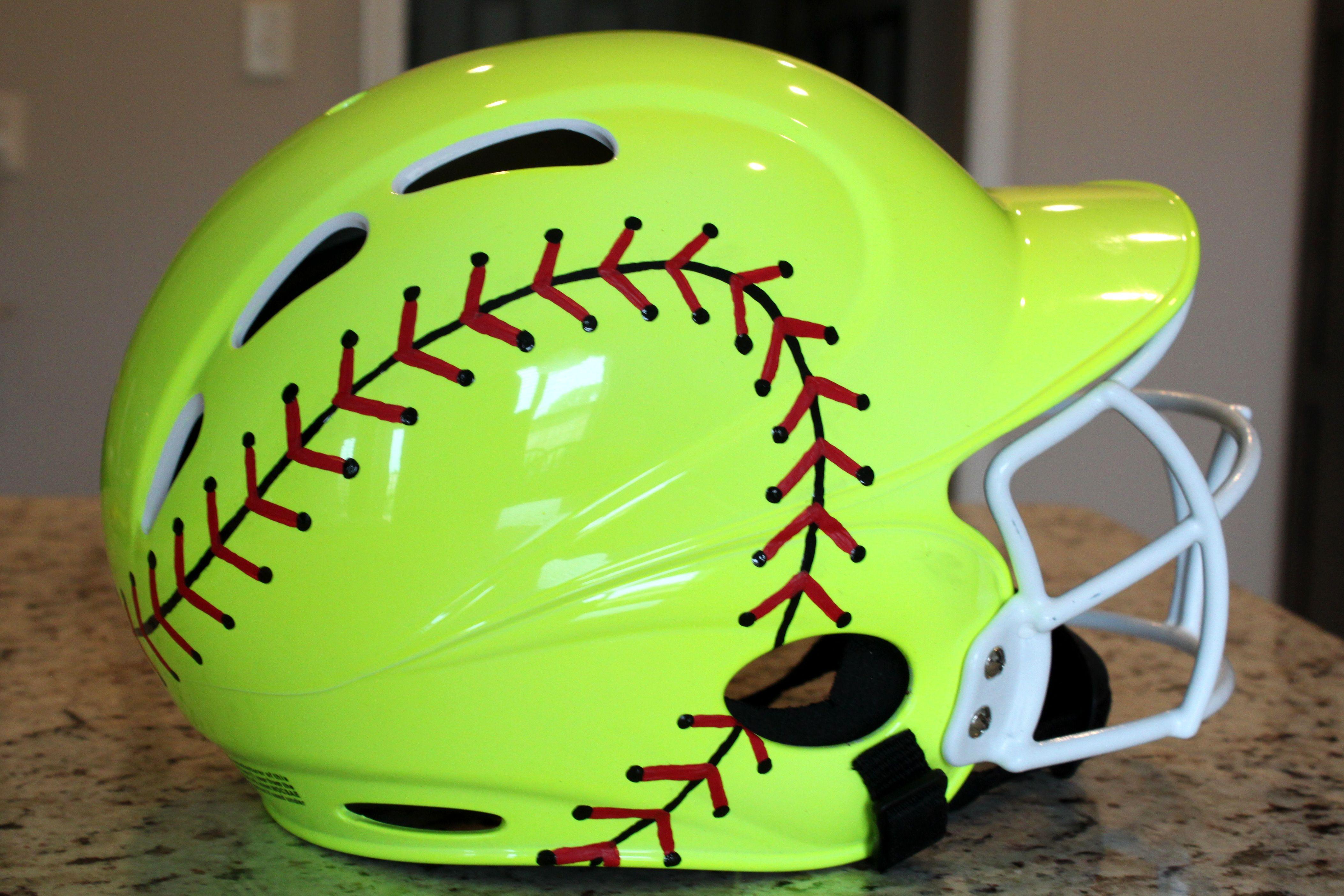 Softball Painted Batting Helmet Love This Not Sure It S Legal In Our League Softball Helmet Softball Gear Softball Crafts