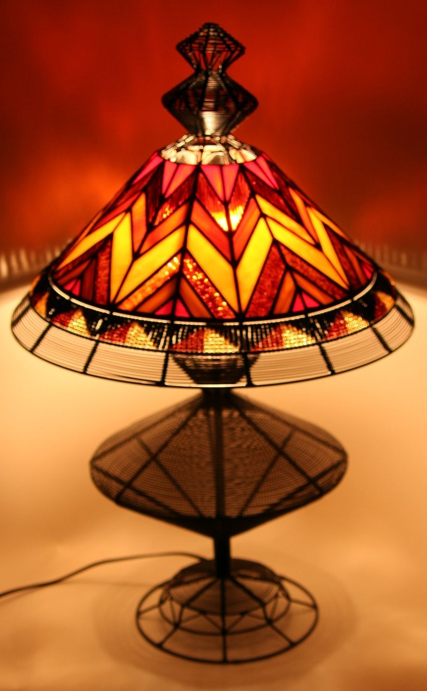 Handcrafted in South Africa this vintage wire and glass l& is reminiscent of Tiffany style l&s using traditional African beading & South African Wire and Stained Glass Lamp | African Home Decor ... azcodes.com