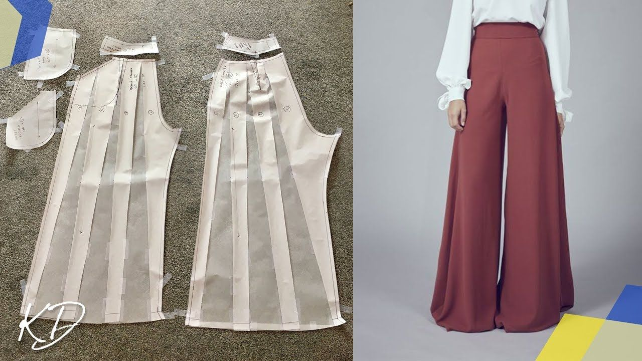 WIDE LEG PALAZZO PANTS PATTERN TUTORIAL | SLASH AND SPREAD METHOD - YouTube