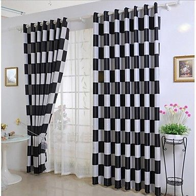 Black And White Checkers Two Panel Curtains Black And White