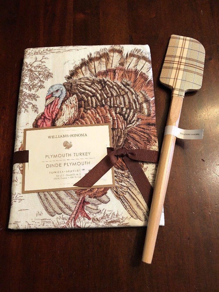 Williams Sonoma Set 2 New Autumn Plymouth Turkey Kitchen Dish Towels Free Ship