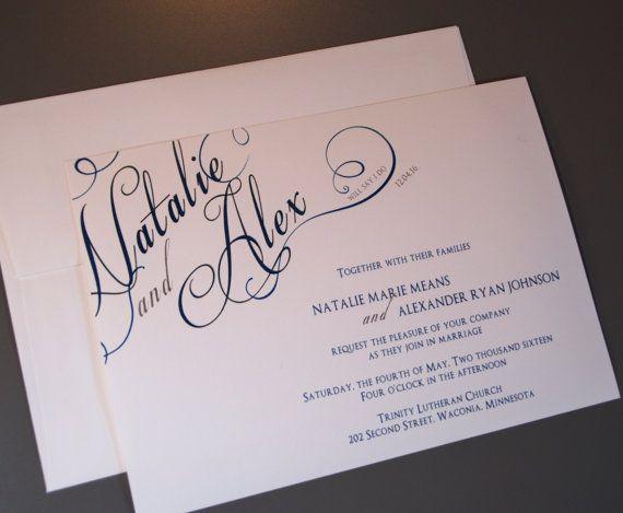 Script Corner Names Custom Wedding Invitation Set Wedding Invitation Sets Postcard Wedding Invitation Wedding Invitations