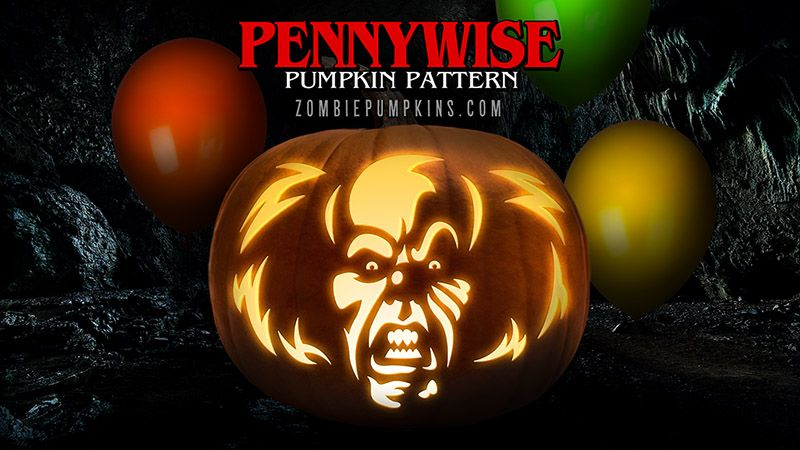 Stephen King S It Pennywise The Clown Printable Pumpkin Pattern
