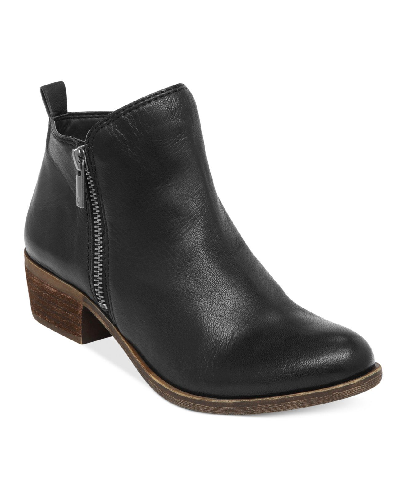 Lucky Brand's Basel booties are the perfect utilitarian style. You can pair them with just about anything and always look stylish. | Leather upper; manmade sole | Imported | Round closed-toe booties w