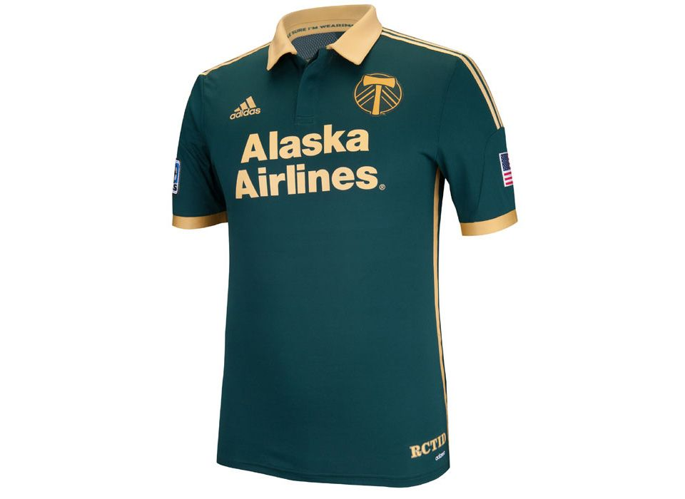 Portland Timbers 2014 Alternative 3rd Kit - Solid dark green with bronze  collar f20a563e2