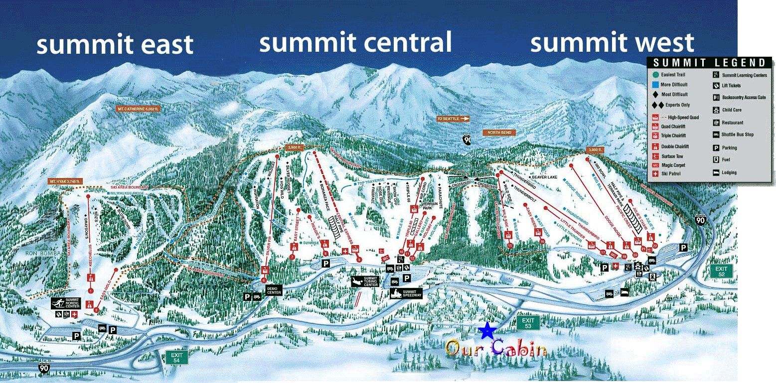 North America Map Seattle%0A Ski resort at The Summit at Snoqualmie in Snoqualmie Wa      acres    miles  east of Seattle
