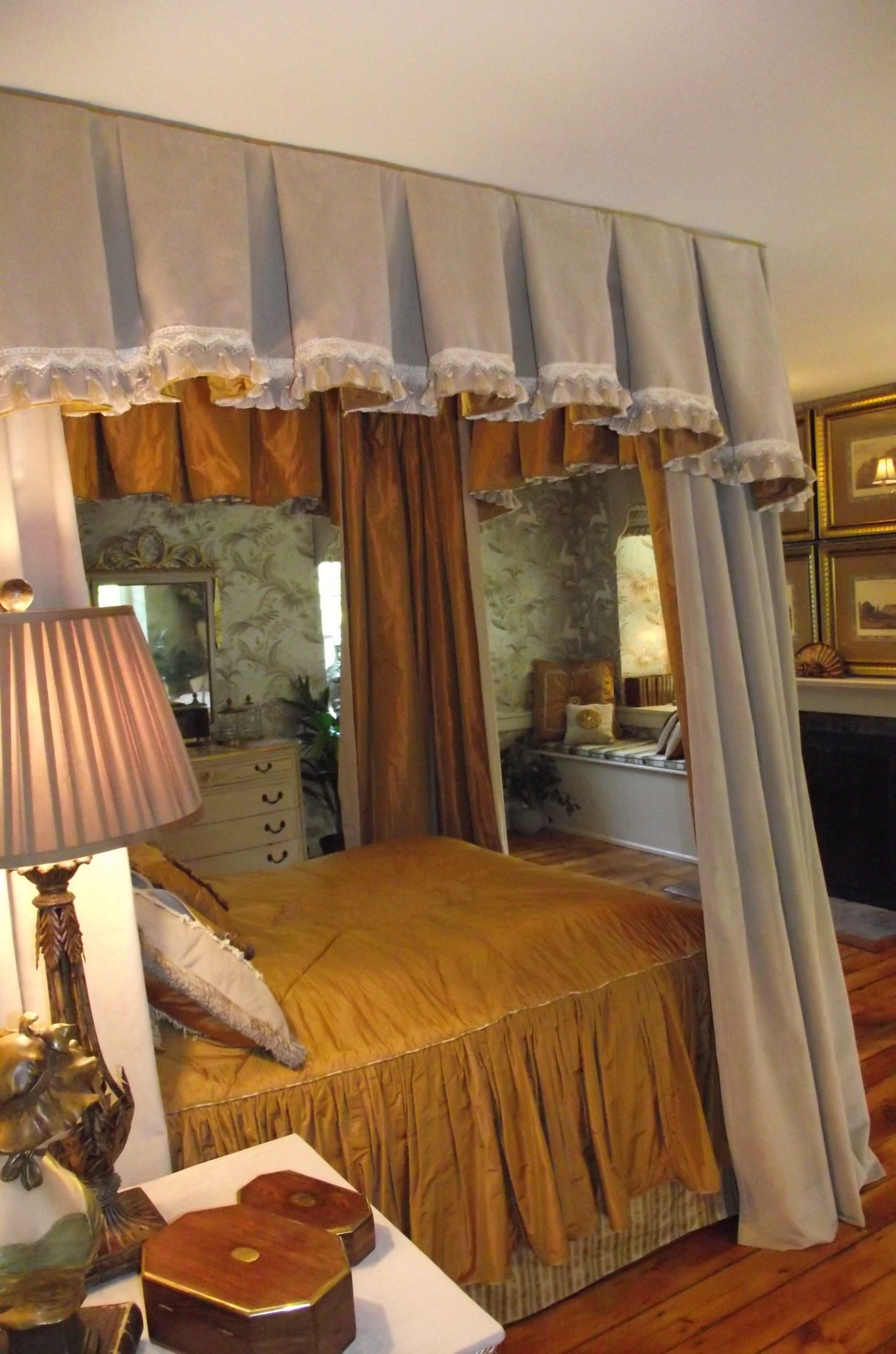 Velvet Canopy Lined In Silk Drapes Can Be Closed Around Bed On