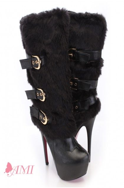Black Faux Leather Fur Mid Calf Boots