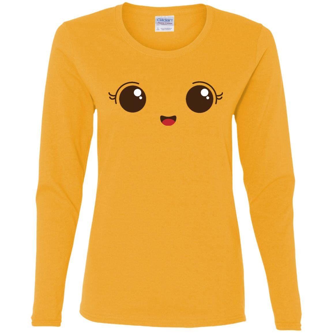 Simple Smile Face Emoji T Shirt7-01 G540L Gildan Ladies' Cotton LS T-Shirt