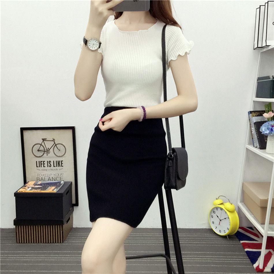 Cotton Bodycon Skirt Women Korean Style Knitting Cotton Skirts ...