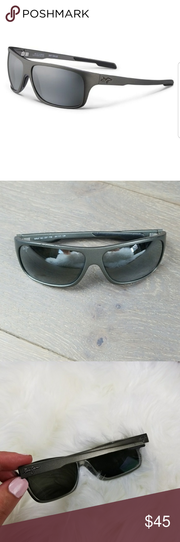 f1cf90df212 MAUI JIM ISLAND TIME Polarized Wrap Sunglasses Pre owned has some wear and  has scatches I