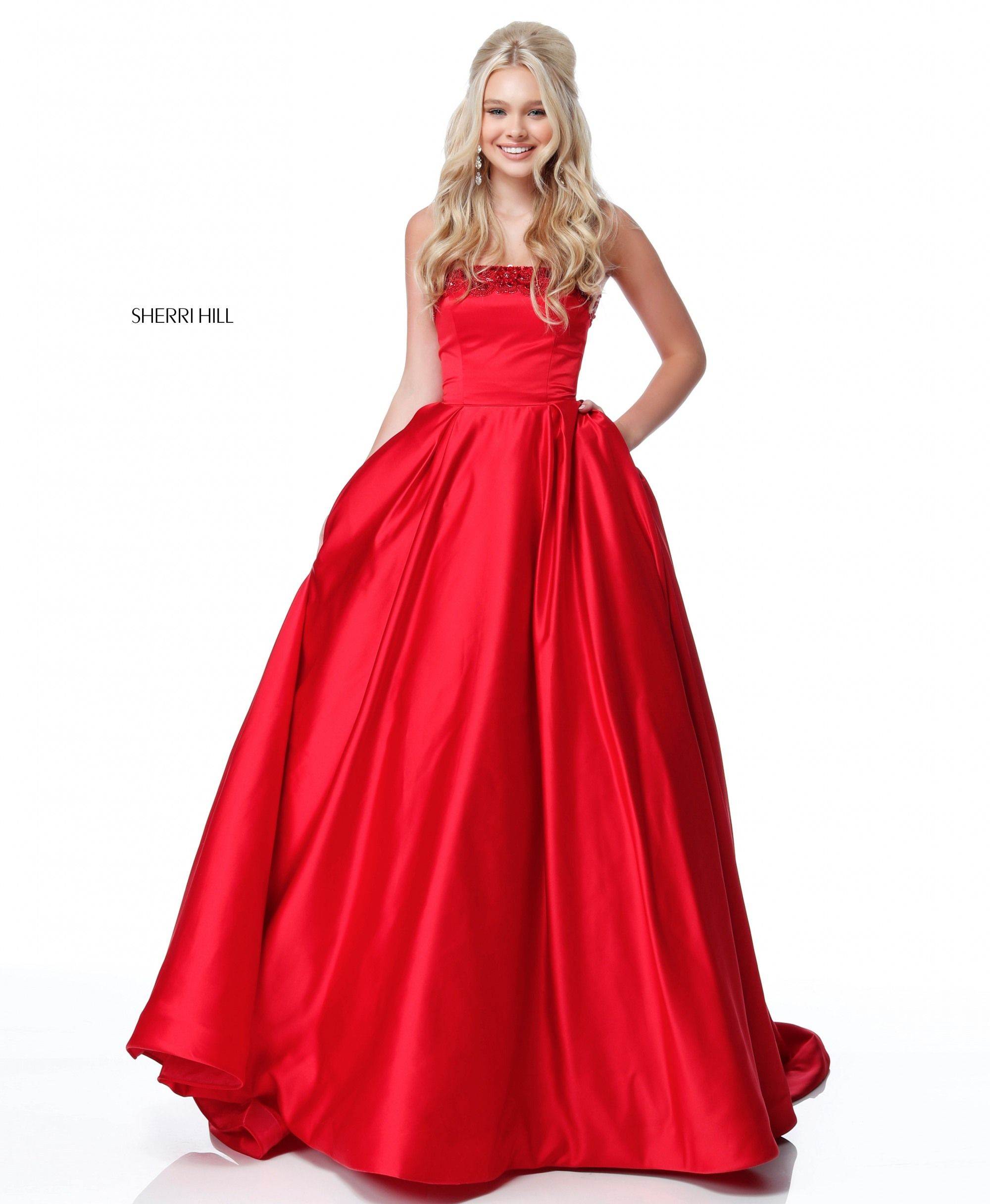 This Sherri Hill 51674 red prom dress features a strapless bodice ...