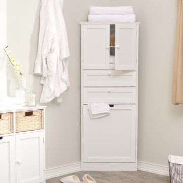 Taylor Corner Linen Tower With Hamper White Www Hayneedle Com Bathroom Corner Storage Cabinet Bathroom Corner Storage Corner Storage Cabinet