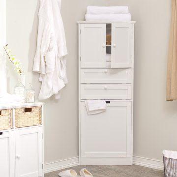 corner linen cabinet for bathroom | taylor corner linen tower with