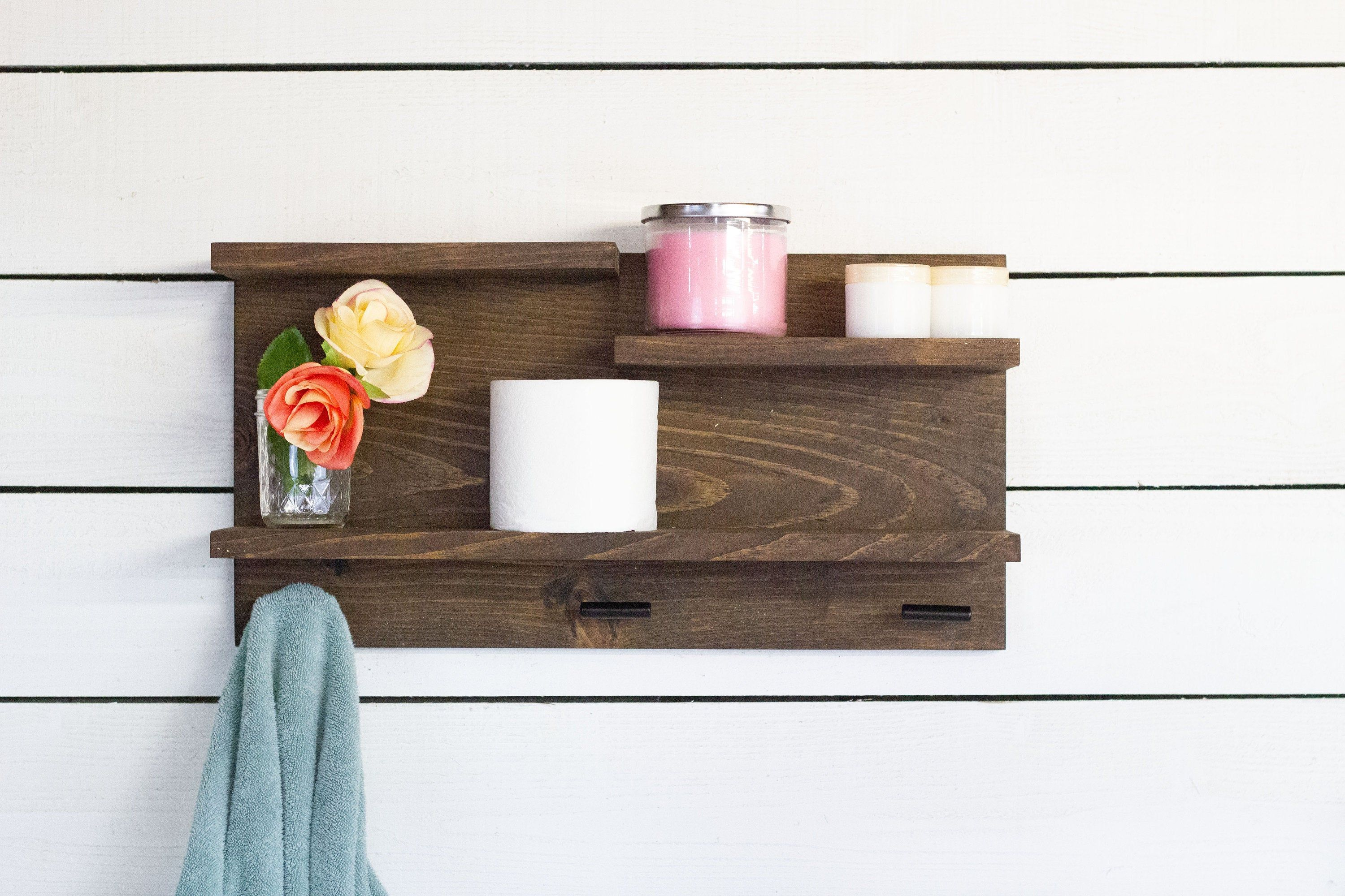 Bathroom Wall Shelf With Towel Hooks Etsy Bathroom Wall Shelves Wall Shelves Shelves