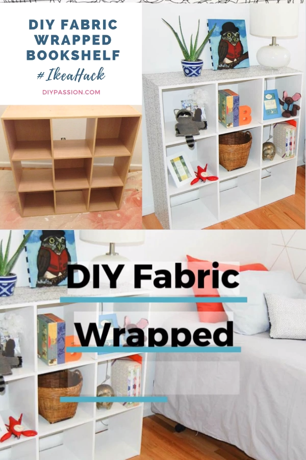 An IKEA Hack that shows you how to wrap the top of your bookshelf in fabric; plus how to paint and seal laminate furniture; perfect for a kids' room!  #ikeahack #modpodge #fabric #paint #video #diypassion
