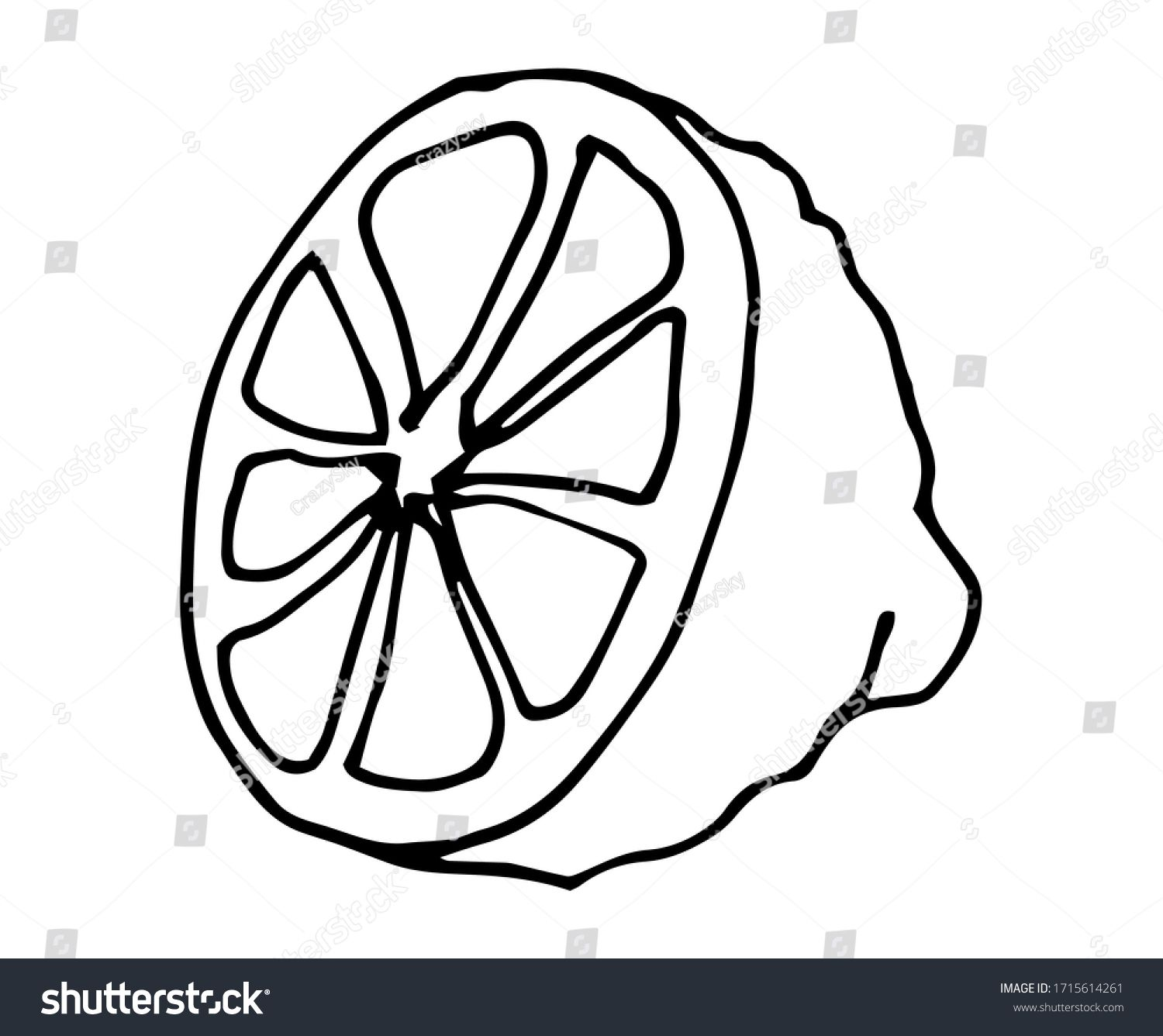 Cute Fabulous Lemon With Outlined For Coloring Book Isolated On A White Background Vector Illustration Of How To Draw Hands Coloring Books Vector Illustration