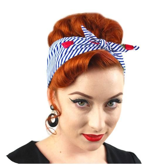 Rosie the Riveter Retro Headscarf Spotty Scarf Rockabilly Polka Dot Bandana