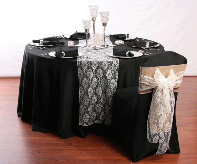Image Result For Black Tablecloth White Lace Table Runner