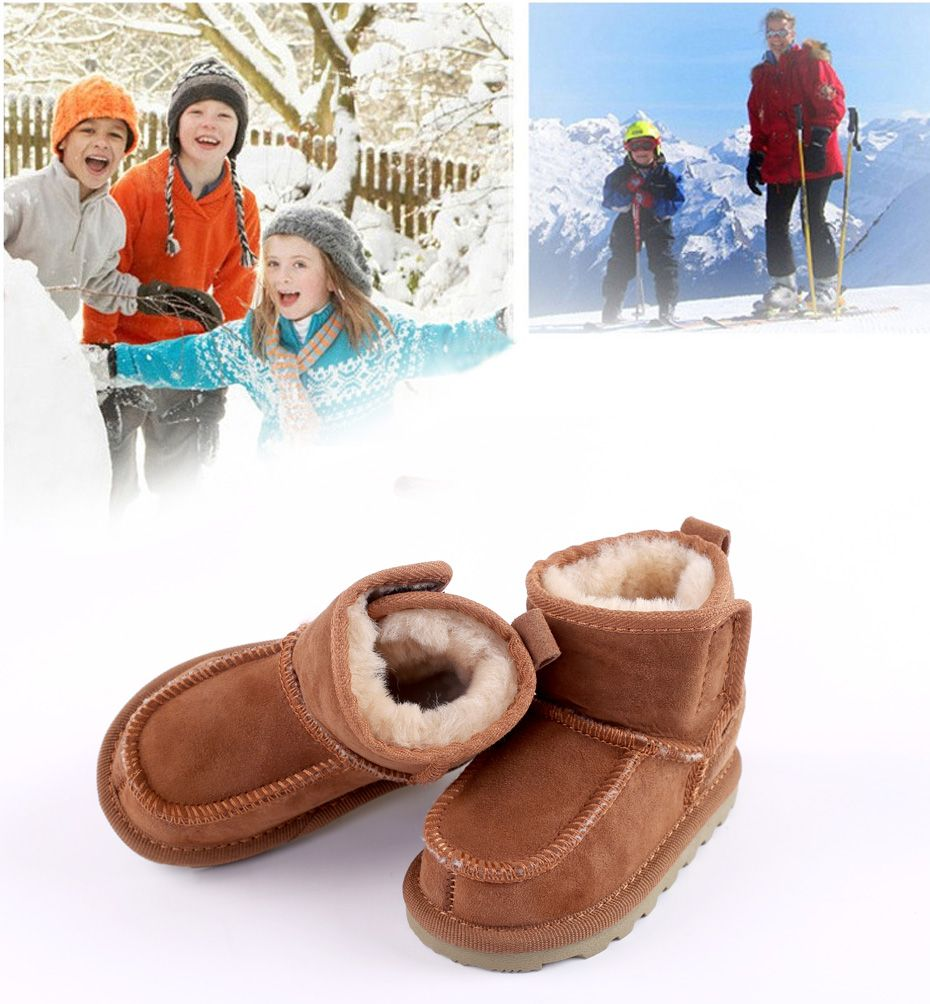 7712aa18e58 Baby Snow Boots for boys and girls Kids Snow Boots Sheepskin Real ...