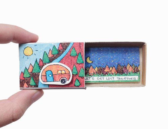 "Friendship Card/ Friend Valentine Matchbox/ Gift box/ ""Let's get lost together""/ Gift for travellers"
