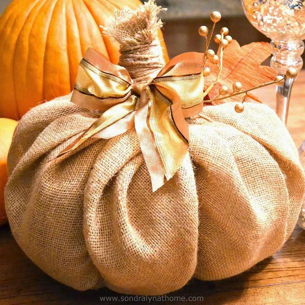 How to make a burlap pumpkin pumpkins burlap and decor for Burlap fabric projects