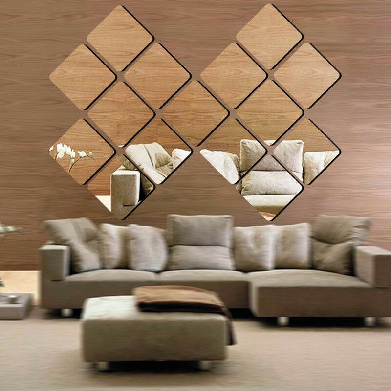 4pcs 3d Wall Stickers Square Mirror Mosaic Tile Diy Decal Home Room Decor Mirror Design Wall Mirror Wall Decor Bedroom Mirror Wall Tiles