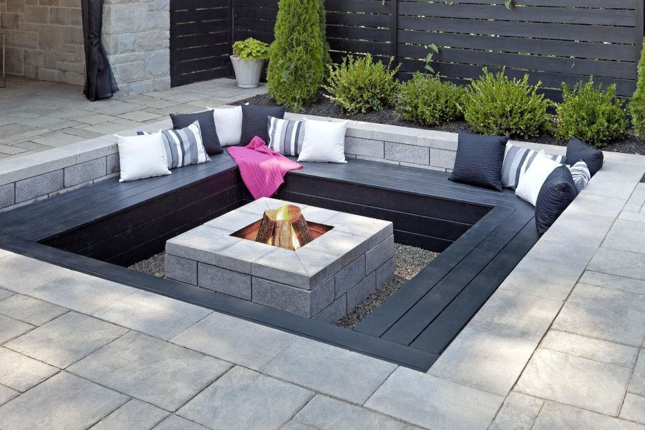 Modern Outdoor Fire Pits Ideas Featuring Black Stone Square Bench And  Contrast White Black Scatter Cushion