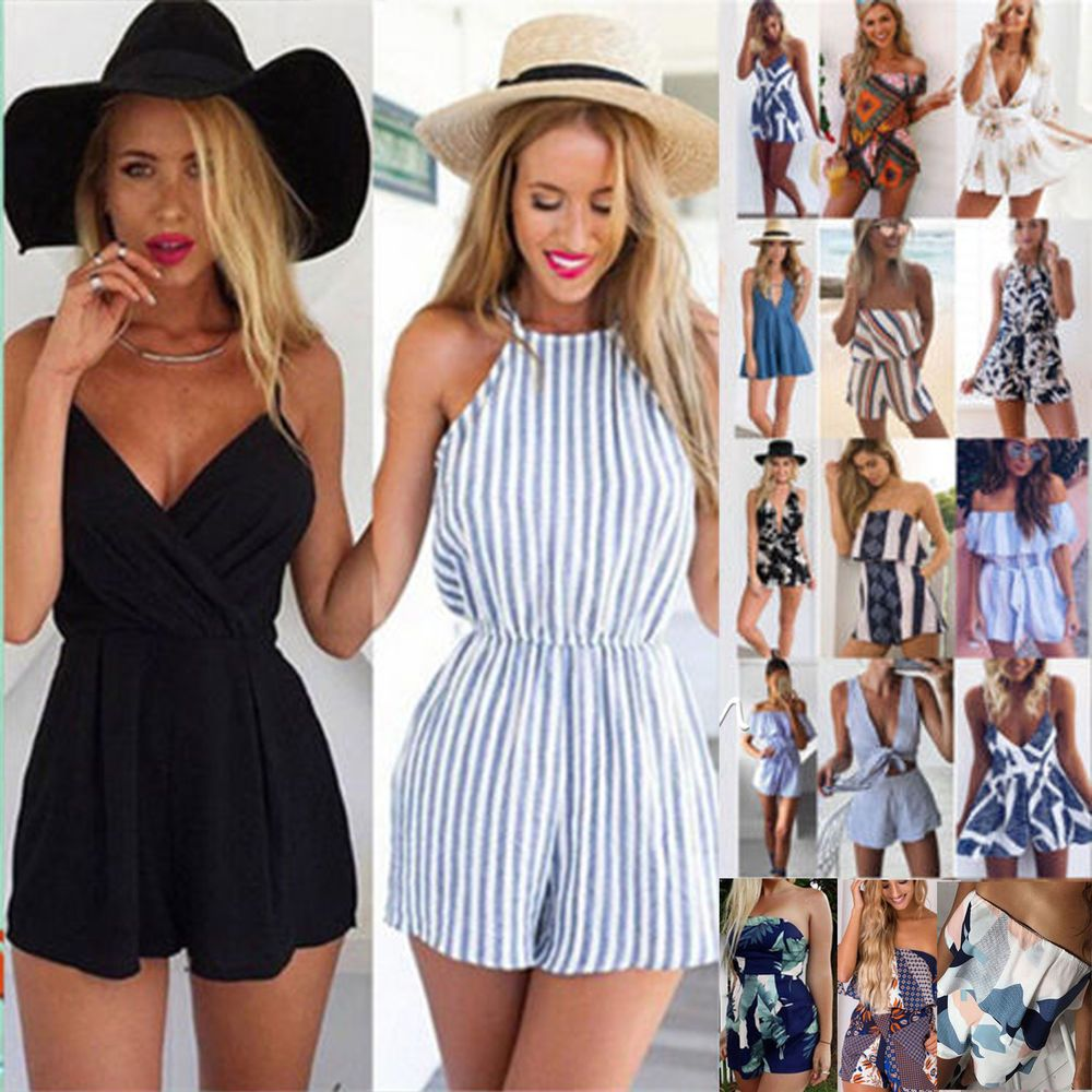 9cb908af70 Dresses Women Holiday Mini Playsuit Jumpsuit Rompers Summer Beach Casual  Shorts Dress Women s Clothing