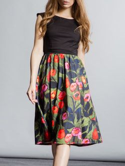 Floral-print Swing Midi Dress