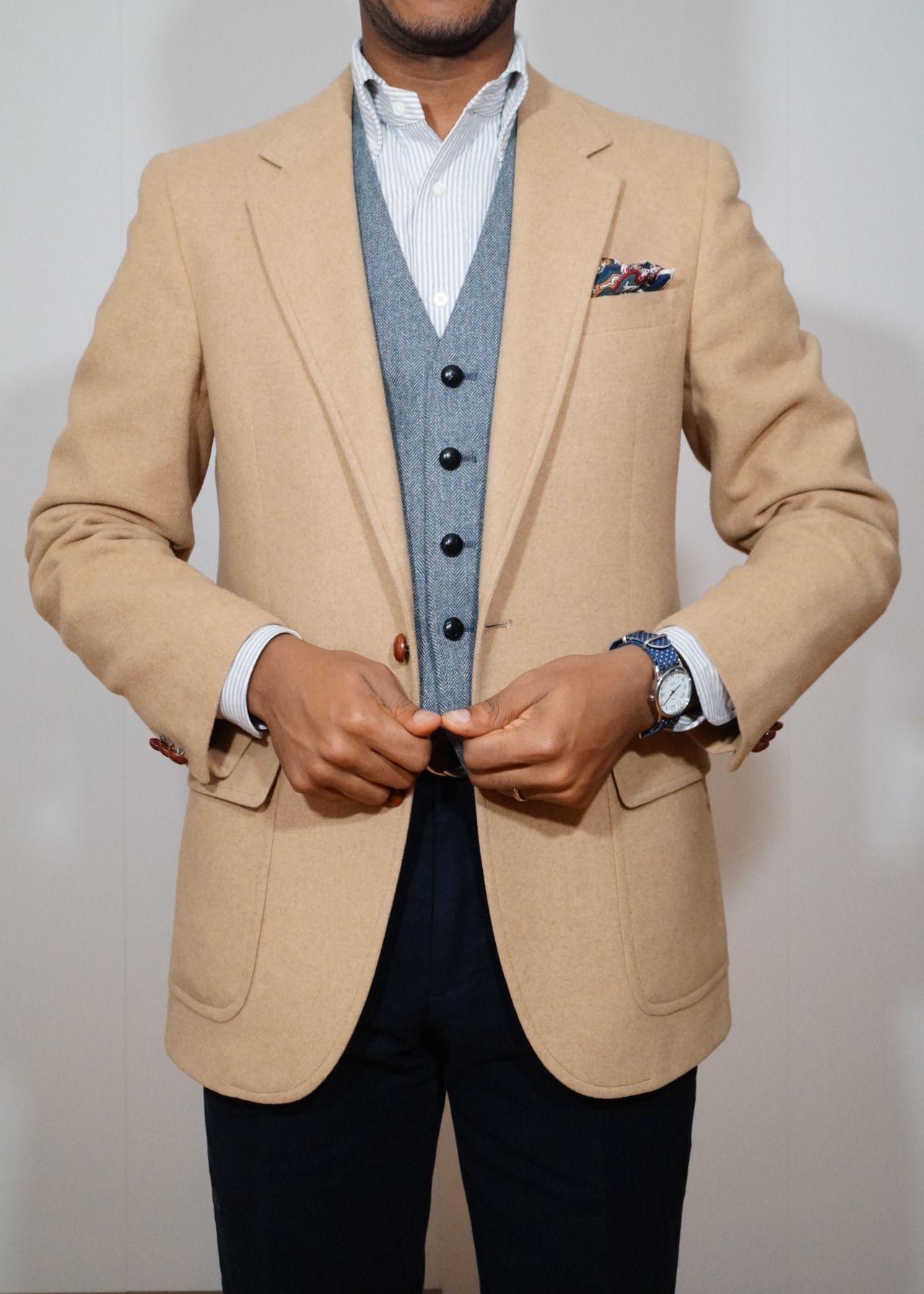 Beige jacket white shirt with light blue dress stripes