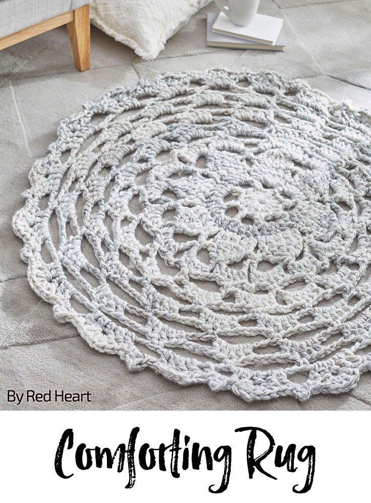 Comforting Rug free crochet pattern in Collage yarn.