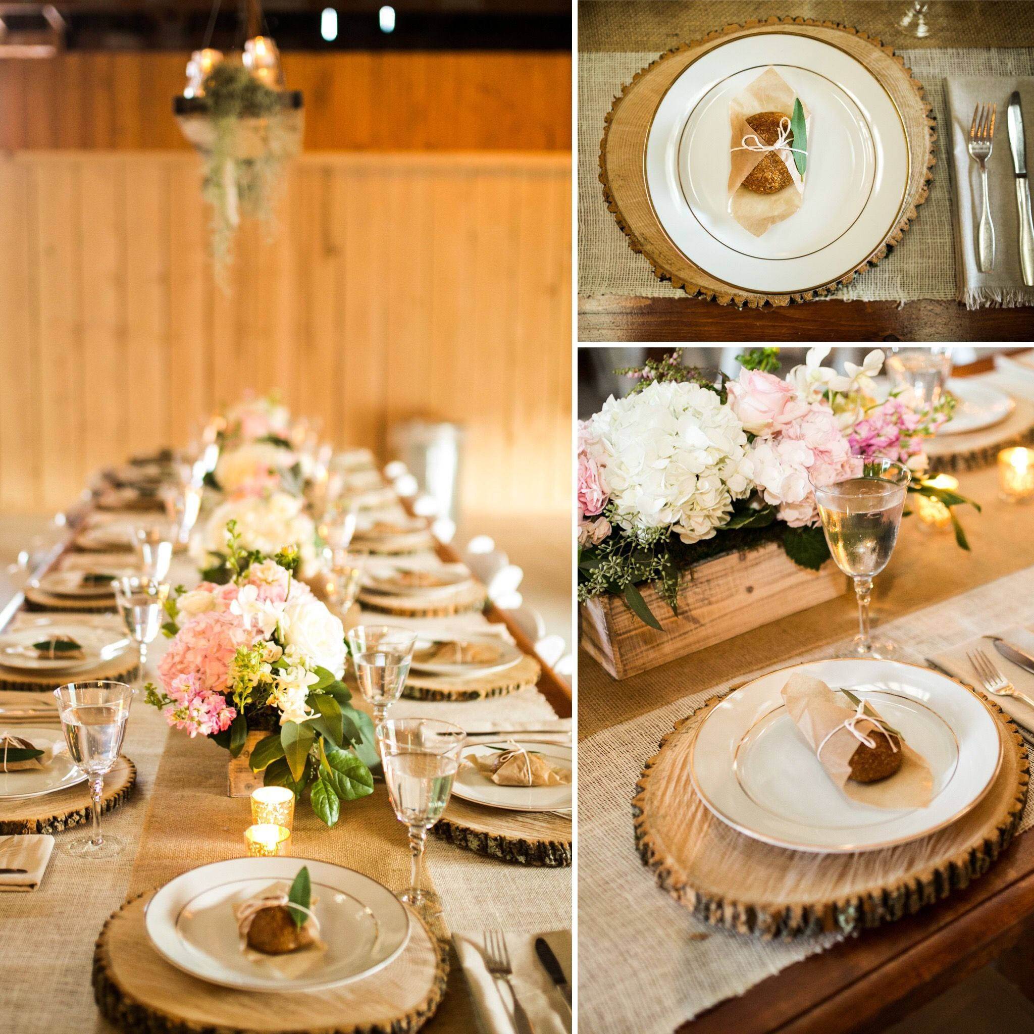 Wood Chargers Tablescape Guest Tables Wedding Decor Wedding Centerpieces Cullen Creations Rentals Rustic Wedding Decorations Wedding Plates Yard Wedding