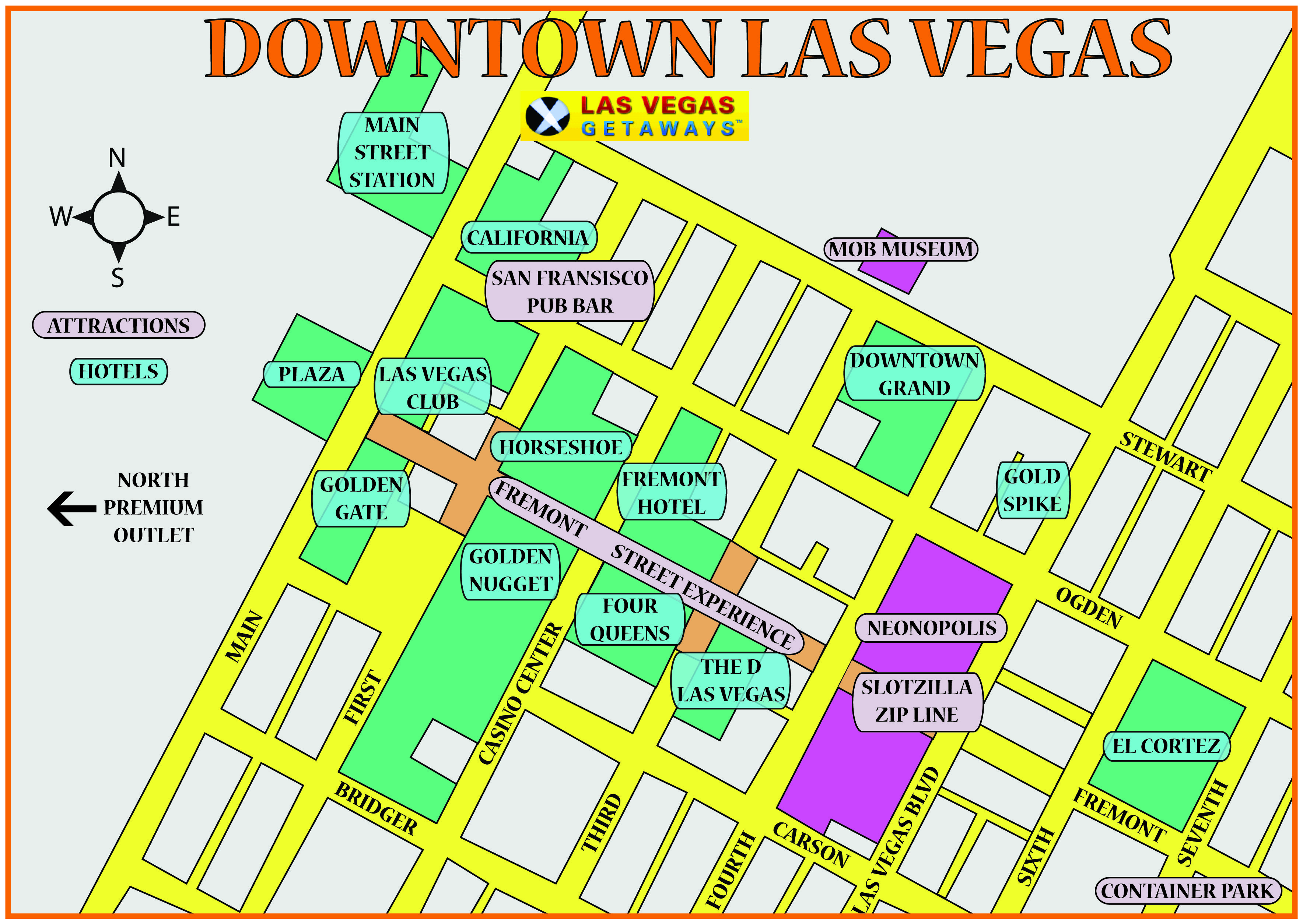 Downtown Las Vegas Map Las Vegas Getaways Pinterest Vegas and
