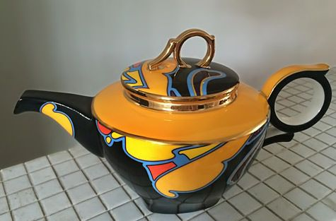 Art-Deco-teapot orange,black,yellow and blue