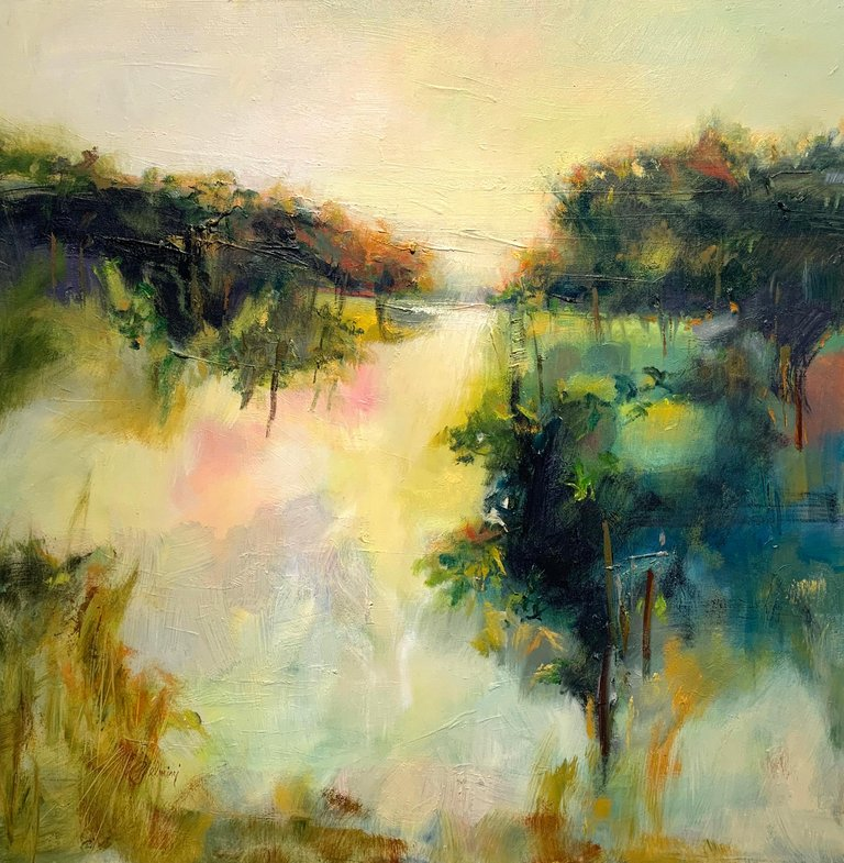 Peggy Jelmini Abstract Painting Hot Day Vineyard 2018