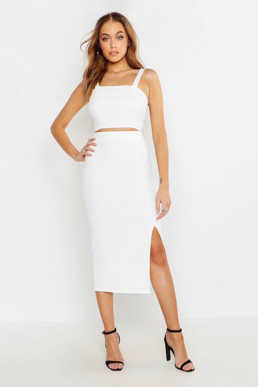 Woven Crop Top Midi Skirt Two Piece Set Boohoo Crop Top Skirt Set Midi Skirt Skirt Co Ord [ 1500 x 1000 Pixel ]
