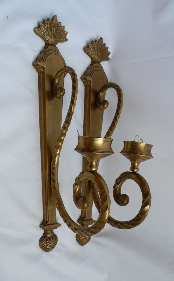 Vintage Brass Wall Candle Sconces Holder Large Pair W Glass