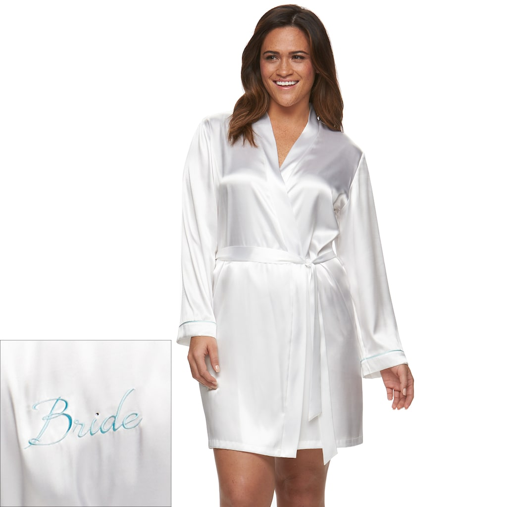 Plus size apt a touch of blue bridal satin wrap robe in
