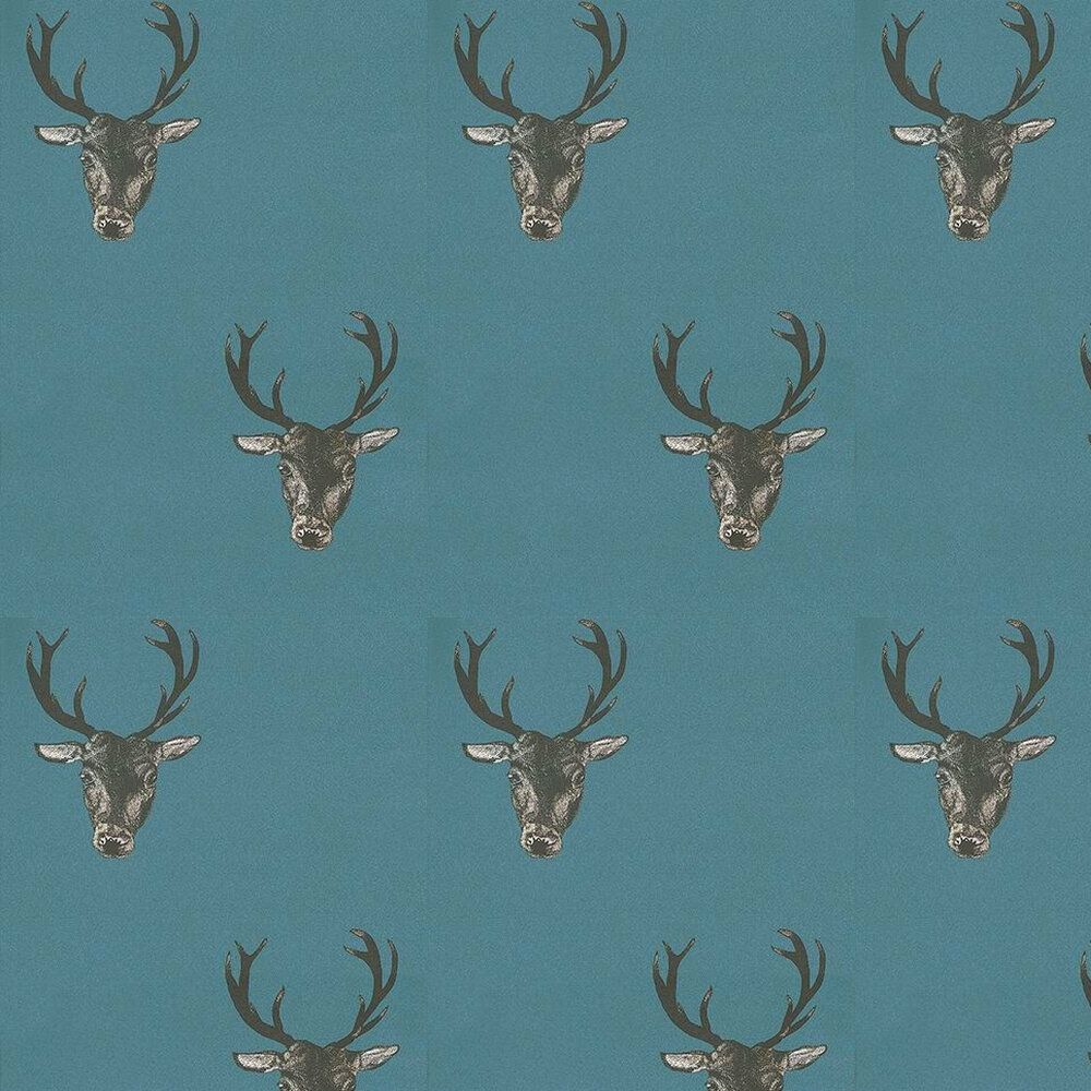 Photo of Stag Print Teal by Graduate Collection – Teal – Wallpaper : Wallpaper Direct