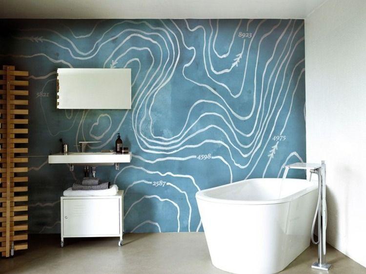 Modernes Bad mit blauer Wand Tapete Papiers peints Pinterest - tapeten badezimmer geeignet