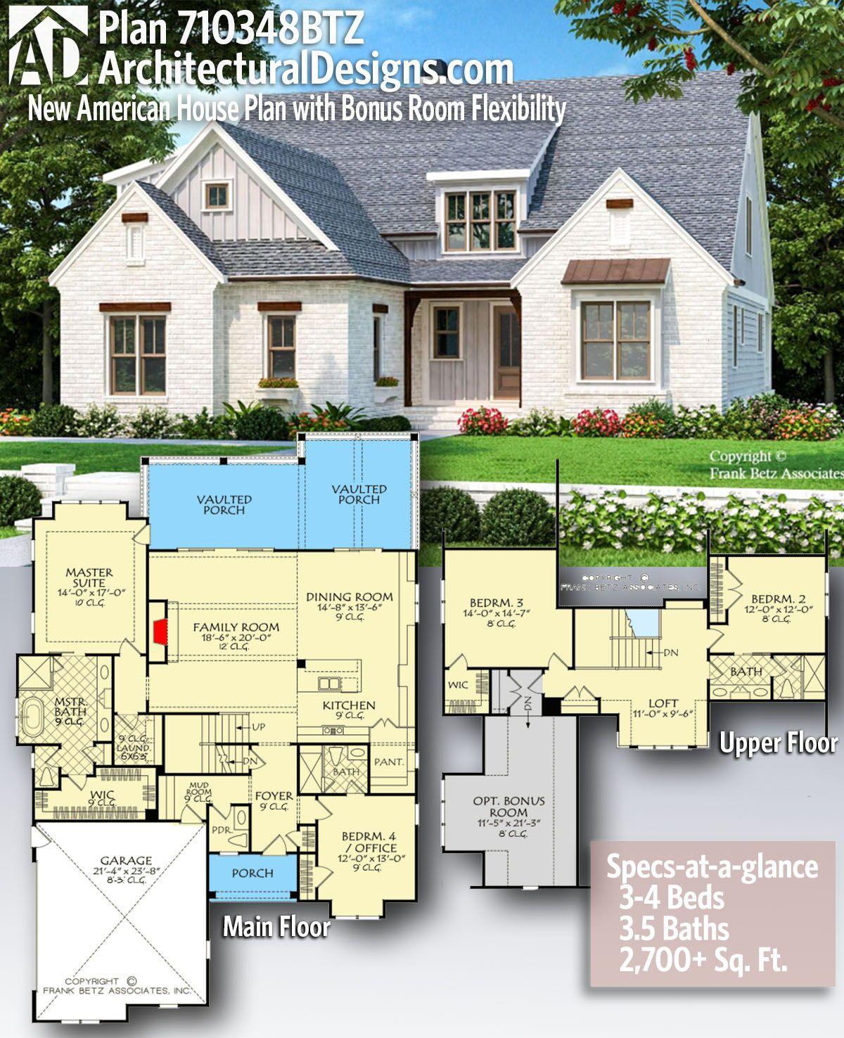 Plan 710348btz New American House Plan With Bonus Room Flexibility In 2020 House Plans American Houses New House Plans