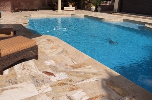 French Pattern Leonardo Travertine Pool Deck Travertine Pool