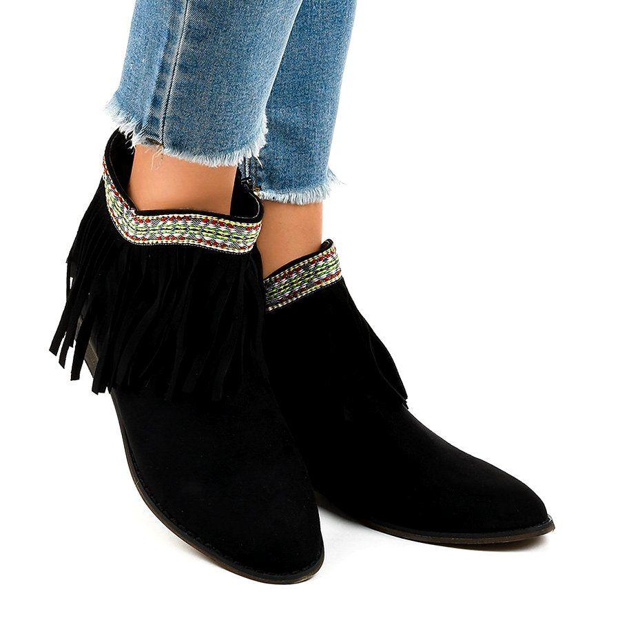 Czarne Zamszowe Botki Wsuwane Z Fredzlami 99 136 Slip On Boots Boots Boot Shoes Women