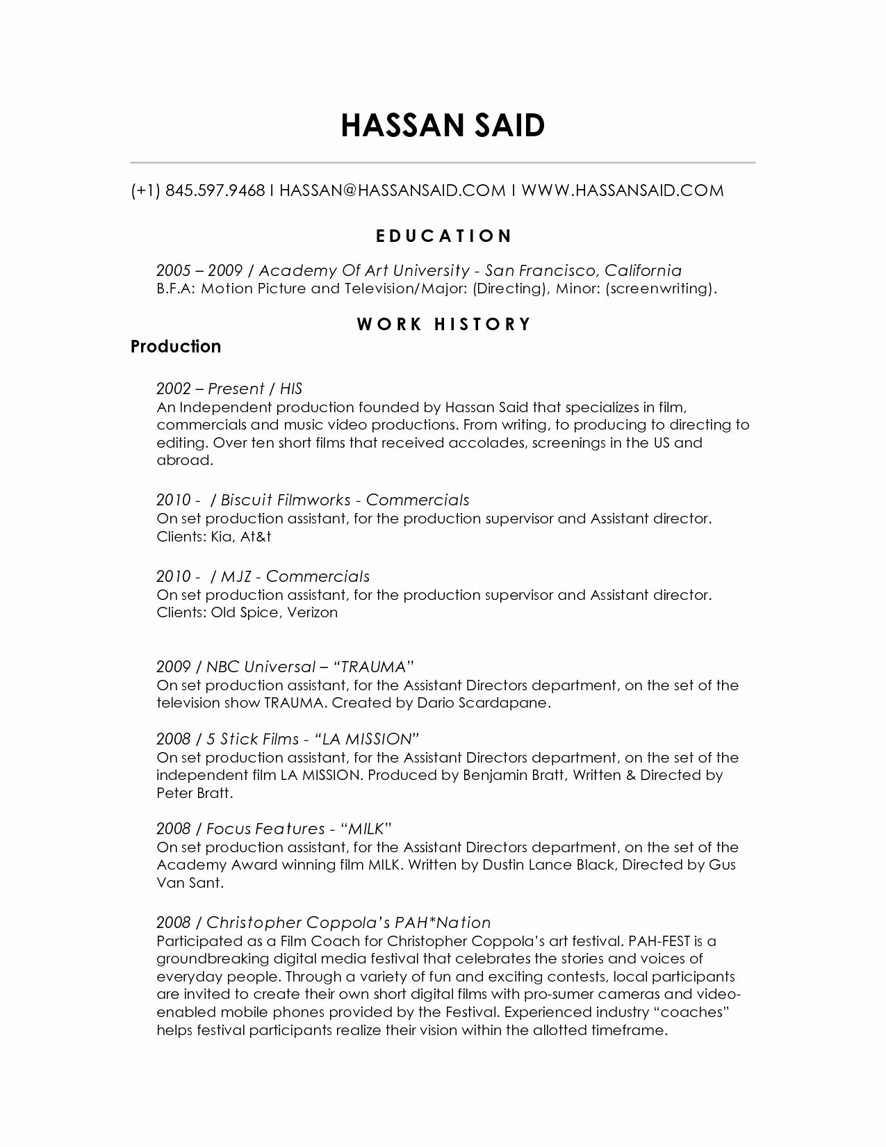 Unique Production assistant Resume Template Sidemcicek in
