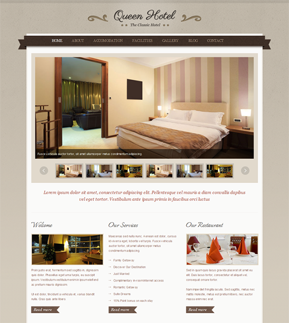 This Hotel Wordpress Theme Offers A Jquery Slider Threaded