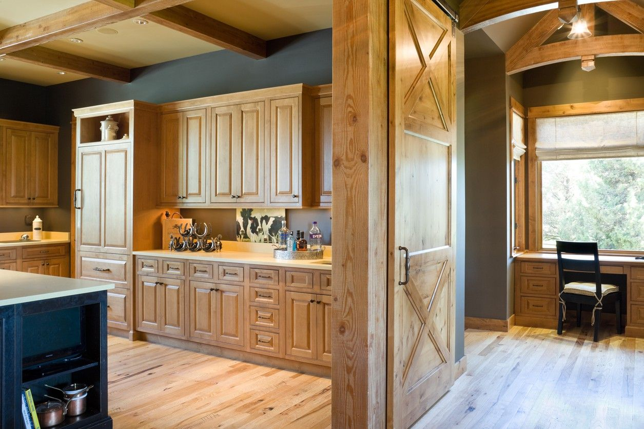Wall color with hickory cabinets Mascord Plan 2467 - The Hendrick - Beautiful Mountain Ranch with Great Outdoor Connection